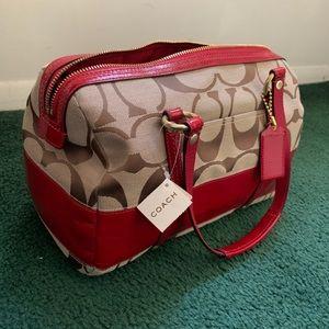 Khaki Red Coach Duffel Satchel Bag